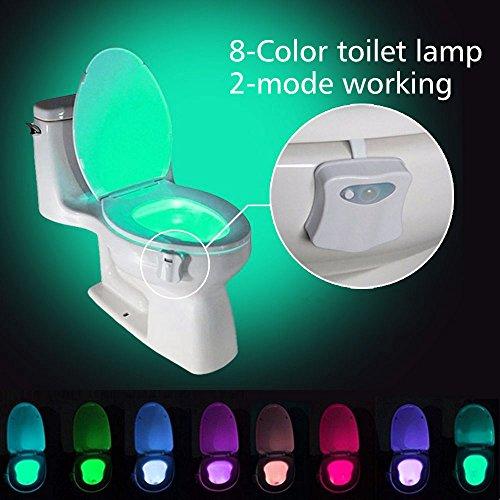 WC Veilleuse, niceEshop (TM) 8 couleurs & 2 modes WC lumière Mouvement Active - Bol Lumières Lampe batteriebetriebene Toilette Lampe LED pour salle de bain décoration