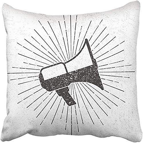 7af22d5d2269f AHENANY 18X18 Inch Decorative Throw Pillow Cover Polyester Black Retro  Vintage Megaphone with Sunburst On Grunge Graphic Drawn Loudspeaker Hipster  ...