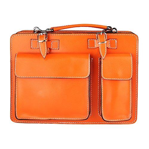 Chicca Borse Unisex Aktentasche Organizer Handtasche Mittlere Maß mit Schultergurt aus echtem Leder Made in Italy 34x24x12 Cm Orange
