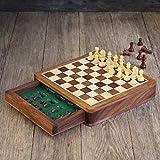 Aheli Hölzerne handgemachte magnetische Schachspiel Reise Board Indoor Outdoor Spiel Spielzeug mit Filz Interieur (Square - 7 Zoll) Home Decor