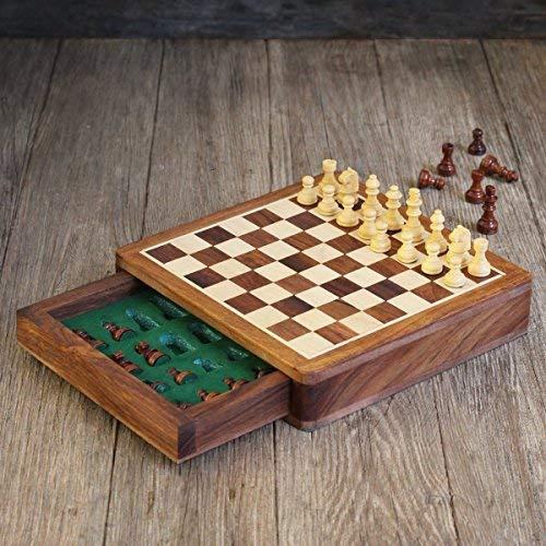 Juego de tablero de ajedrez de viaje de ajedrez magnético de madera...