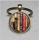 Buch Schlüsselanhänger, Old Book Binderücken und Vintage Telefon, Bibliothek  Einzigartige Schlüsselanhänger Key Ring Geschenk  Everyday Schlüsselanhänger Key kette