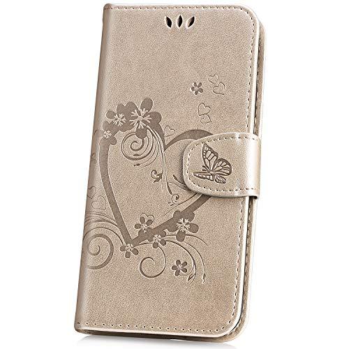JAWSEU Kompatibel mit Samsung Galaxy S10 Hülle Leder Flip Handyhülle Schutzhülle Tasche Liebe Blumen Muster PU Leder Flipcase Brieftasche Klapphülle Silikon Bumper Ständer für Galaxy S10,Gold