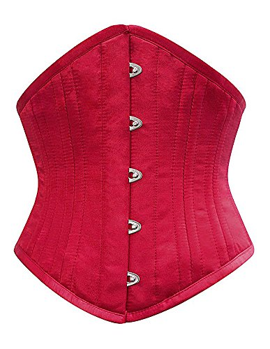 Corsage Satin Wein Rot Spitz authentische Metall Elegantes Gothic Gr. 22, Rot - Rot (Authentische Burlesque Kostüme)