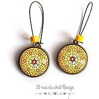 Orecchini Cabochon, Mantra, mandala jane, zen, gioiello etnico, idea regalo di Natale, gioiello di Sun