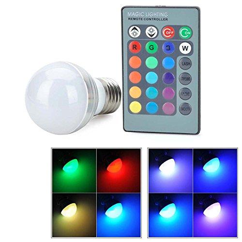 Bombilla LED con cambio de color RGB, 12 colores cambiantes con flash, luz estroboscópica, desvanecimiento y modo liso, para discoteca, fiesta, hogar, estado de ánimo, iluminación ambiental e27 As Picture Show