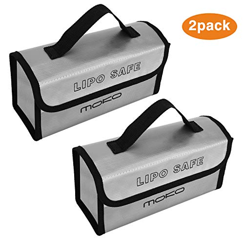 MoKo Fireproof Explosionproof Battery Safe Bag [2 Pack], Storage Guard Safe Sleeve Bag for Lipo Battery Storage and Charging, Hook & Loop Closure for Maximum Protection - Silver -