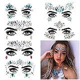 KOBWA Strasssteine Gesicht, 6 Stück Juwelen Face Tattoo Sticker, Temporäre Tattoos Gesichts Gesicht Edelsteine Regenbogen-Kristalle für Glitzer Effekt, Parties, Shows, Make-up