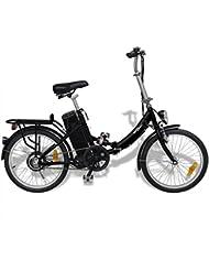 vidaXL Vélo électrique pliant en alliage d'aluminium batterie lithium-ion Argent / Noir