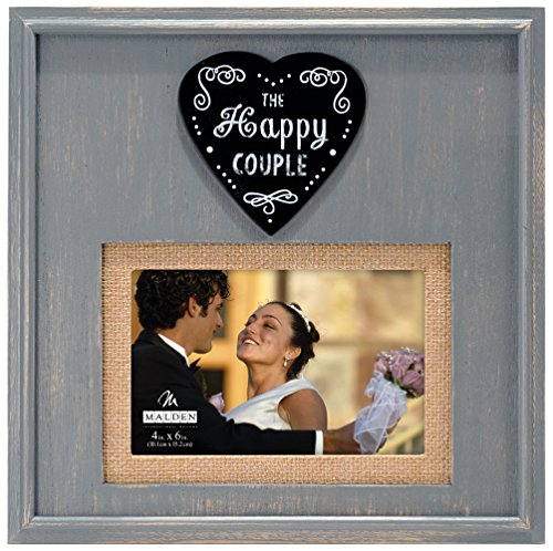 Malden International Designs Rustikal Woods Distressed Grau mit Jute Matte The Happy Couple Herz Befestigung Bilderrahmen, 4 x 6/5 x 7, grau
