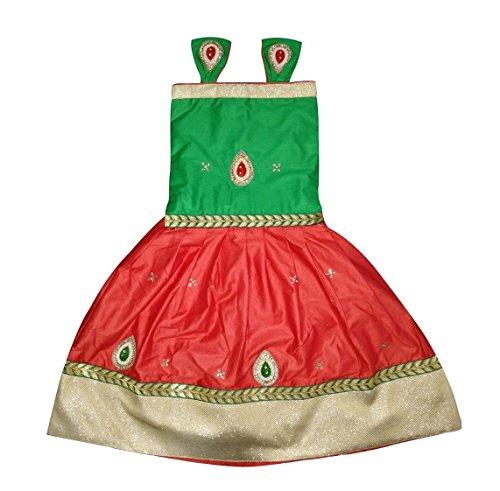 new designer red green cemric cotton baby girls lehenga choli (2-3 Years)