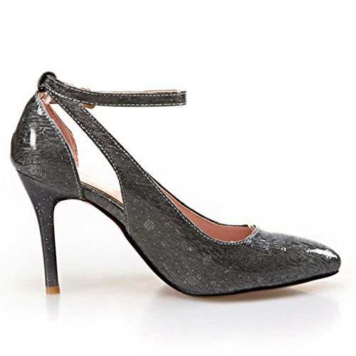 TAOFFEN Damen Süß Stiletto High Heel Party Pumps Mit Schnalle Schwarz