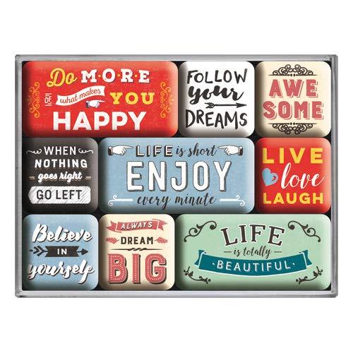 Nostalgic-Art 83111 Word Up - Enjoy Life   Retro Magnet-Set (9teilig)   Kühlschrank-Magnete   Vintage