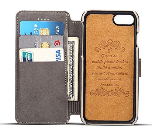 Coque iPhone 7, Pasonomi [Ultra Slim][Fonction support] [Card Slot Series] Coque en Cuir Debout Voir le Journal Flip Cover Wallet Coque pour Apple iPhone 7, Noir Gris