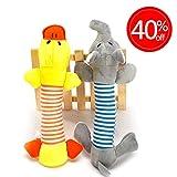 Isuper Hund Kauspielzeug 2 Stück Haustier Spielzeug mit Sound Süsse Elefant Enten haltbare Kau-Spielwaren-Zähne Welpen  Zähne Spielzeug als Weihnachts Geschenk