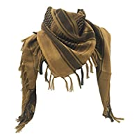 WOLMIK 100% Cotton Military Shemagh Tactical Desert Keffiyeh Head Neck Scarf Wrap in Brown