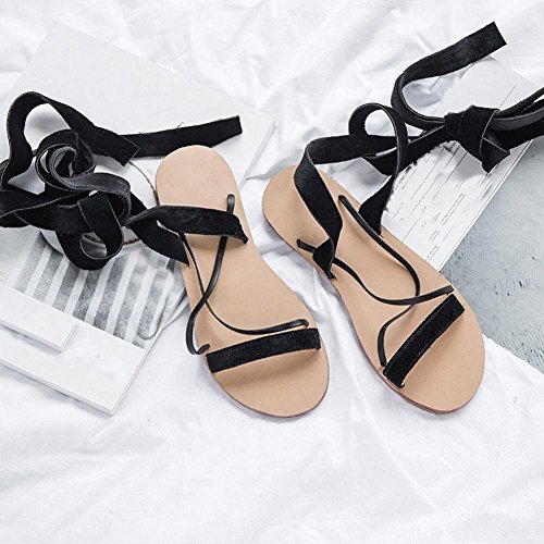 Transer® Damen Retro Flach Sandalen Leder+Gummi Weinrot Schwarz Kreuzgürtel Urlaub Party Outdoor Fesselriemen Schuhe Schwarz