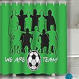 WENYAO Ducha Cortina balón de fútbol Bandera Conjunto fútbol Deporte Juego Plantilla Volando Grunge Pintura Pincel Trazo Copia Espacio Campeonato 60 x 72 Pulgadas