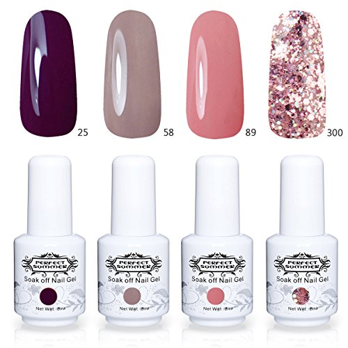 Perfect Summer 4 Colors Gel Nail Polish Soak Off Varnish UV LED Manicure Nail Starter Kits 8ML Each one #001