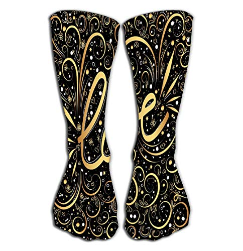 jinhua1 Hohe Socken Outdoor Sports Men Women High Socks Stocking Abstract Love Word Hand Lettering golden Swirls swooshes Gold Black Swirl elegant Valentine s Colored Tile Length 19.7