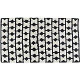 Kare Design Teppich Shaggy Check, großer Wohnzimmerteppich, handgefertigter Bodenteppich, Vorleger, Läufer, Schwarz-Weiß (H/B/T) 1x170x240cm