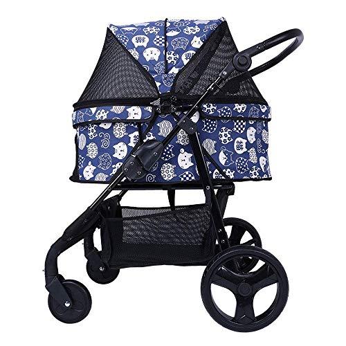 Pet 4 Wheels Travel Stroller Carrier Hund Katze Folding Kinderwagen Trolley Puppy Jogger mit großem Ablagekorb (Color : Blue)