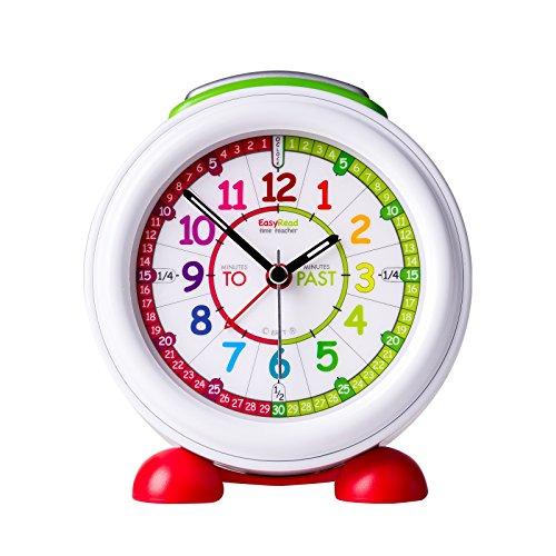 """EasyRead time teacher Reloj Despertador Infantil luz Nocturna y Esfera Arco Iris Que Indica la Hora en Inglés utilizando Las locuciones""""Minutes Past"""" y""""Minutes to"""""""