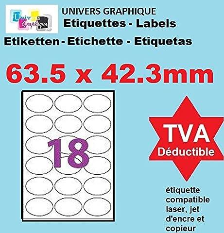100 Planches de 18 étiquettes ovale 63.5 x 42.3 mm = 1800 etiquettes - Blanc Mat - pour imprimantes Laser et Jet d'encre - Feuilles A4 autocollantes référence univers UGE18OV1 Code logiciel L7101