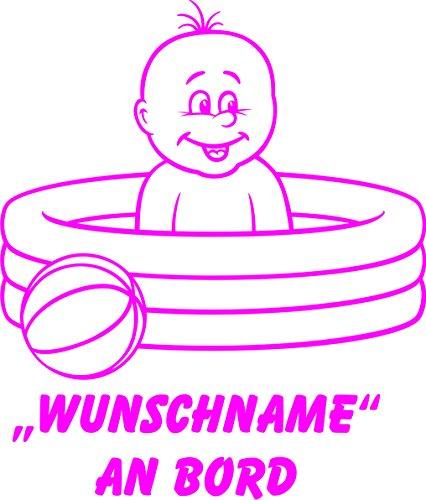 INDIGOS UG - Babyaufkleber / Kinderaufkleber 091 mit Wunschname / Wunschtext an Bord ca. 20 cm Höhe - Autoaufkleber in verschiedenen Farben