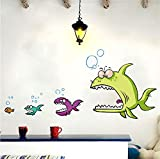 Waofe Fisch Essen Fisch 3D Wandaufkleber Wohnkultur Für Küche Wand Kinderzimmer Pvc Wandtattoos/Adhesive Dinner Dekoration 47 * 100 Cm