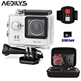 AEDILYS 4K HD Action Camera ,Sport Camera ,Wrist 2.4G Wireless RF Remote Control , WiFi 2inch 170° Sports Video, lens Helmet go waterproof pro camera +32GB Card+Camera Bag -White
