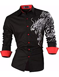 Sportrendy Homme Chemises Casual Manches Longues Mode Men Slim Fit Long Sleeves Dress Shirt Tops JZS041