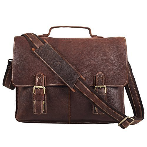 Polare Men's Twin Buckle Genuine Leather Messenger Bag Briefcase