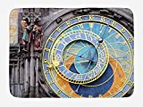 Doormats Clock Bath Mat, Prague Astronomical Clock in The Old Town an European Medieval Landmark of City, Plush Bathroom Decor Mat with Non Slip Backing, 23.6 W X 15.7 W Inches, Blue and Yellow
