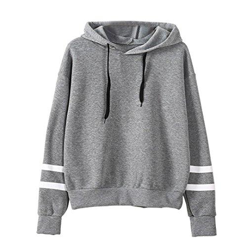 Sunnywill Lange Ärmel Hoodie Sweatshirt Pullover Kapuzen Pullover Tops Bluse für Mädchen Damen (Asien:M, Grau)