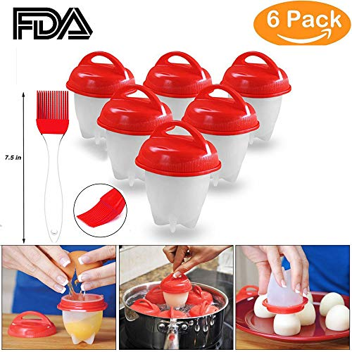 YTH Cooker Hard Boiled egg Maker Nonstick Silicone Eggs Boiler Cookers without Egg Shell - 6 Packs ¡­