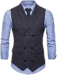 2d54e1b9 FULIER Men Slim Fit V Neck Double Breasted Business Casual Waistcoat Suit  Vest Formal Wedding