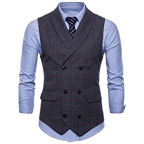 FULIER Männer Slim Fit V-Ausschnitt Zweireiher Business Casual Weste Anzug Weste formale Hochzeit (Mittel, Dunkelgrau)