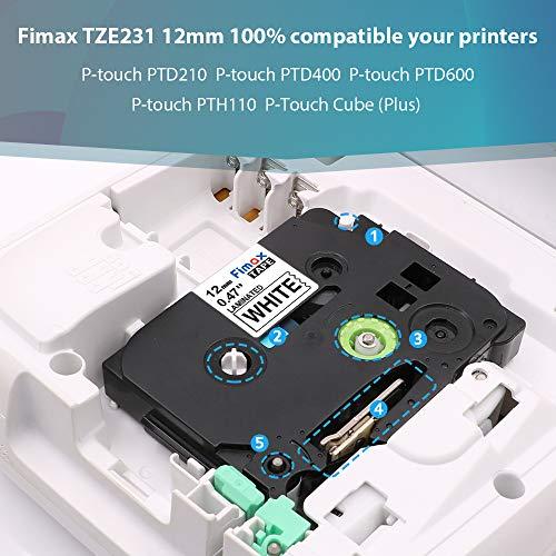 Etichette Markurlife Compatibile In sostituzione di Nastro Brother TZe-231 12mm Nero su Bianco,TZ-231 Laminato Tape per Ptouch H105 PT-H100R PT-1010 PT-1000,4 Pz