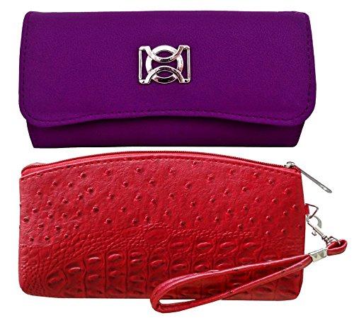 Pellcaso Fancy Clutch Purse For Ladies & Vanity PouchCombo - Purple & Red