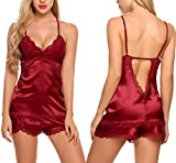 Avidlove Mujer Pijama Camiseta Tirantes Escote V Con Pantalones Cortos Slip Encaje(Rojo de Vino L)