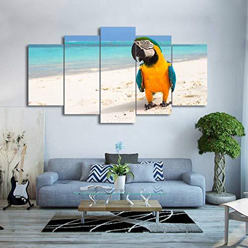 SUNNYWLH Wandgemälde Wandkunst Leinwand Hd Drucken Rahmen Bilder Wohnkultur Wohnzimmer 5 Stücke Ruhen Vogel Papagei Malerei Strand Farbe Feder Poster -
