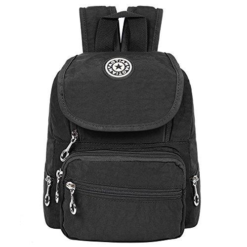 EGOGO Damen Mädchen Mini Backpack Babyrucksack Kindergartentasche Wasserdichte Nylon Daypack Kinder Rucksack E530-2 (Schwarz) (Mini-nylon-rucksack)