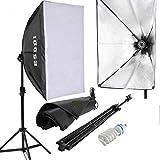 ESDDI Photo Studio Softbox Kit d'éclairage studio photo portable avec Softbox 1x50x70cm et 2m Softbox Monture Universelle, 1x85W E27 5500K Ampoule pour l'Enregistrement Vidéo