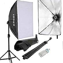 ESDDI Softbox, Foco Fotografia, Kit Iluminacion Fotografia con Luz Continua 50x70cm, Tripode Movil, Bombilla Fotografía 85W para Estudio Fotografico