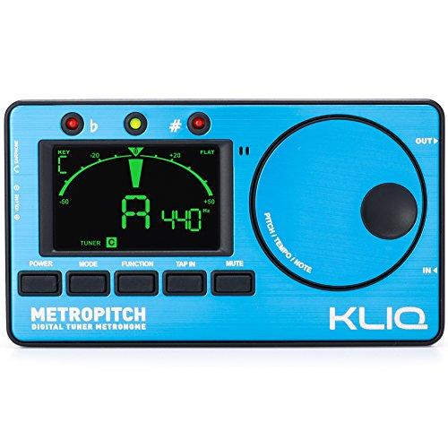 kliq metropitch-Metronom Tuner-mit Gitarre, Bass, Violine, Ukulele, und chromatische Modi-Tap Tempo-Tongenerator-Beste für alle Akustik- und E-Instrumente-Tragetasche enthalten blau