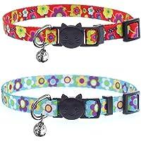 ABIsedrin Katzenhalsband mit Glöckchen und Sicherheit Quick Release Schnalle │ Verstellbar und Geeignet Schnalle Katze Halsband für Katzen (Rot & Blau)