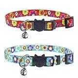 ABIsedrin Katzenhalsband mit Glöckchen und Sicherheitsschnalle, verstellbare und passende Schnalle, für Hauskatzen, Rot und Blau