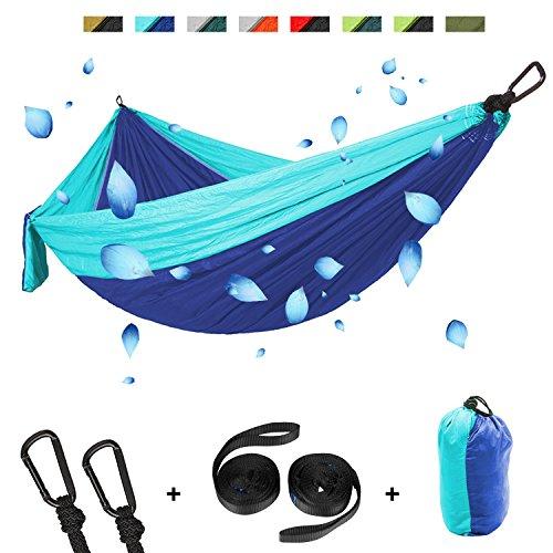 Doppio in campeggio amaca, defler grande campeggio amaca nylon leggero amaca portatile paracadute amaca per esterni zaino in spalla in campeggio trekking di viaggio spiaggia yard 200 x 300 cm