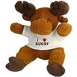 Reno de peluche (Rudolf) con Amo Rugby en la camiseta (nombre de pila/apellido/apodo)